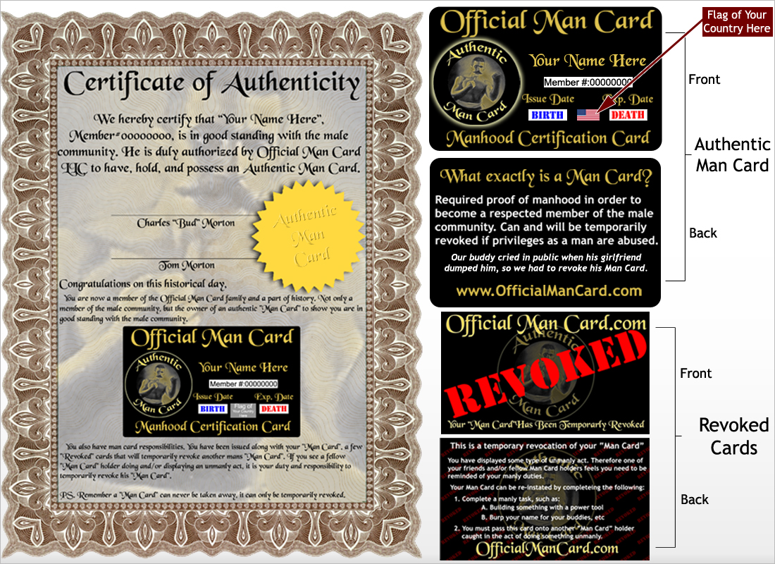 New Certificate | OfficialManCard.com