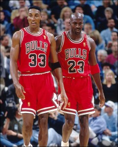 Scottie Pippen number 33 and teammate Michael Jordan number 23